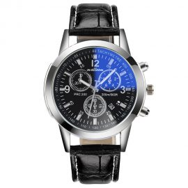 Luxury Leather Mens Blue Ray Glass Quartz Analog Date Watche 1