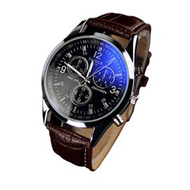 Leather Strap Mens Blue Ray Glass Quartz Analog Watche 1