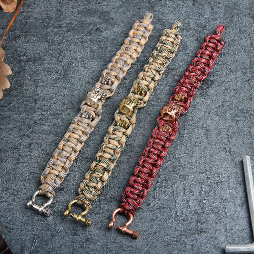 Personality Skull Copper Paracord Bracelet 2