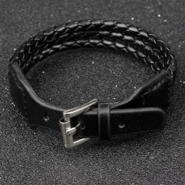 Black Genuine Leather Bracelet w/Adjustable Alloy Buckle 1