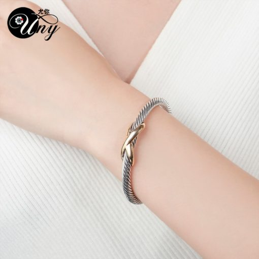 Womans Twisted Wire Bangle Cuff Bracelet 1