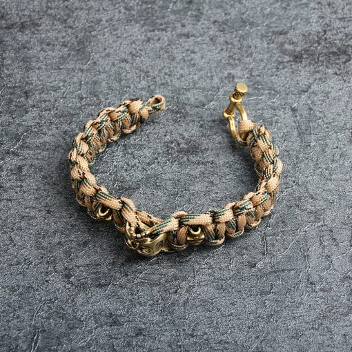 Personality Skull Copper Paracord Bracelet 4