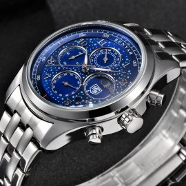 BENYAR Mens Watches Top Luxury Moon Phase Full Steel Quartz Chronograph Watch 1