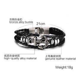 MMultilayer Stainless Steel Anchor Bracelet 1