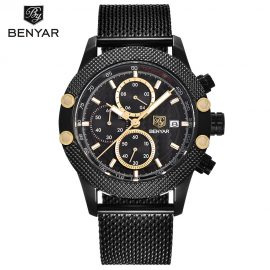 BENYAR Quartz Chronograph Waterproof Watches Business and Sport Design Leather Band Strap Wrist Watch for Men 5