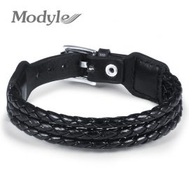 Black Genuine Leather Bracelet w/Adjustable Alloy Buckle
