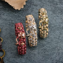Personality Skull Copper Paracord Bracelet 1